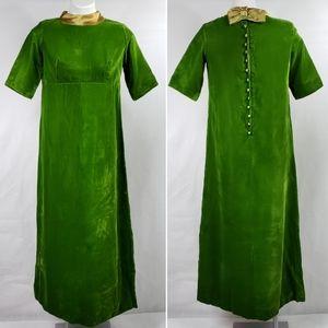 VTG Crushed Velvet Holiday Maxi Gown 50s 60s